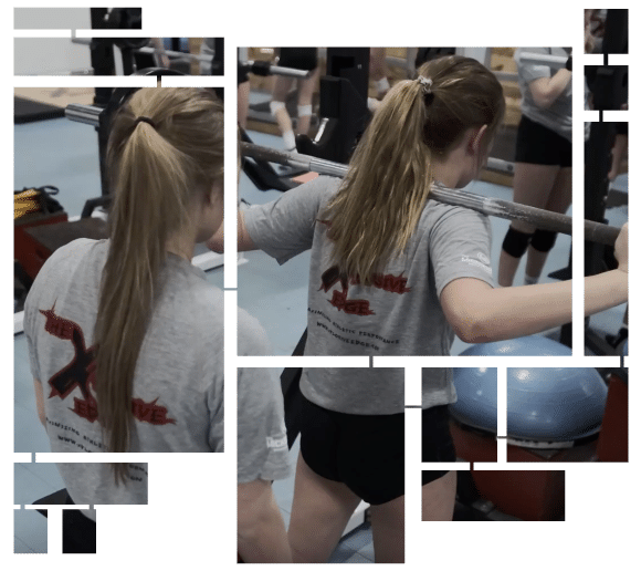 Premier Volleyball girls lifting weights